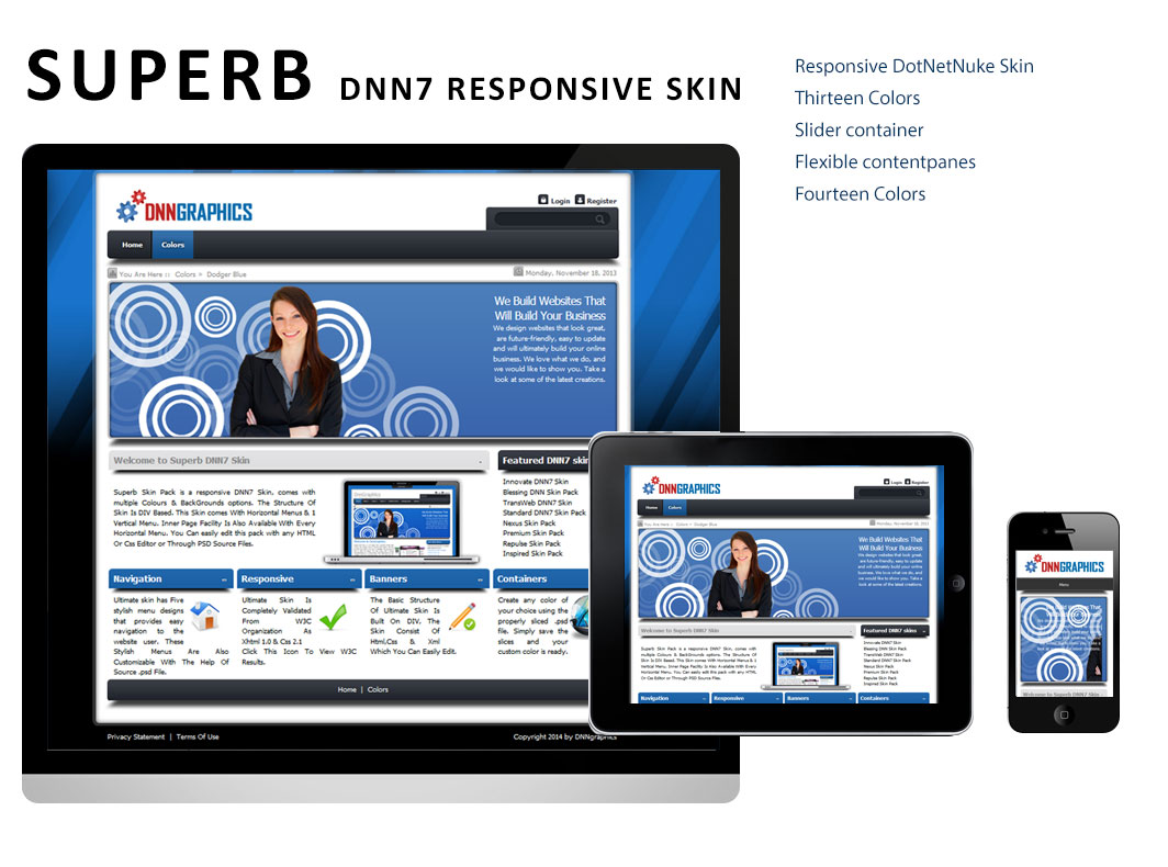 Superb DNN Responsive Skin with Banner Containers DNN6 and DNN7 ...